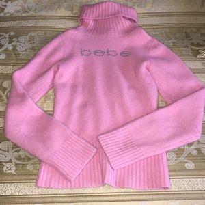 Bebe pink furry turtle neck sweater